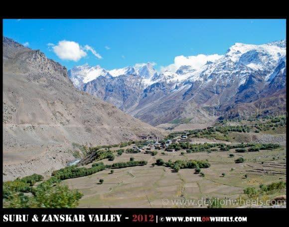 An aerial view of Parkachik Village at Kargil to Padum Road