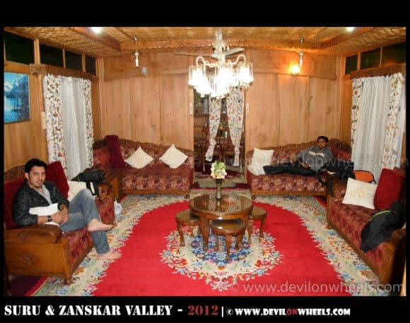 Inside our Houseboat at Dal Lake