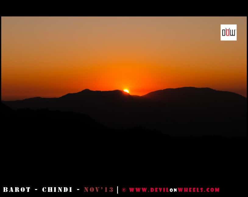 The Super Sunset on the way to Barot