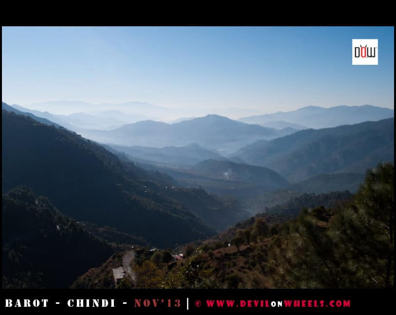 A Misty view of valley down as seen from Jhatingiri, Himachal