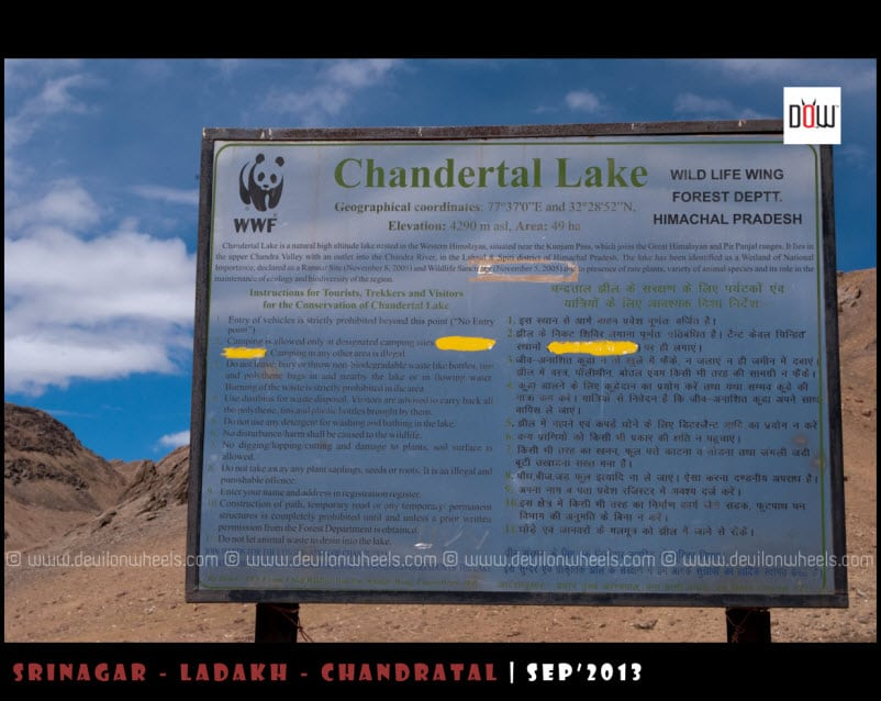 Info on Conservation of Chandratal Lake and its surroundings