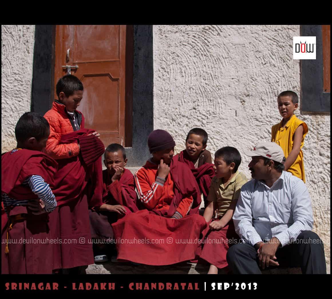 Jiwesh having candid time with Lama Kids at Lamayuru Monastery
