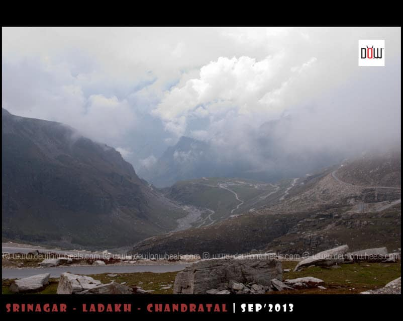 Manali, as seen while descending from Rohtang Pass