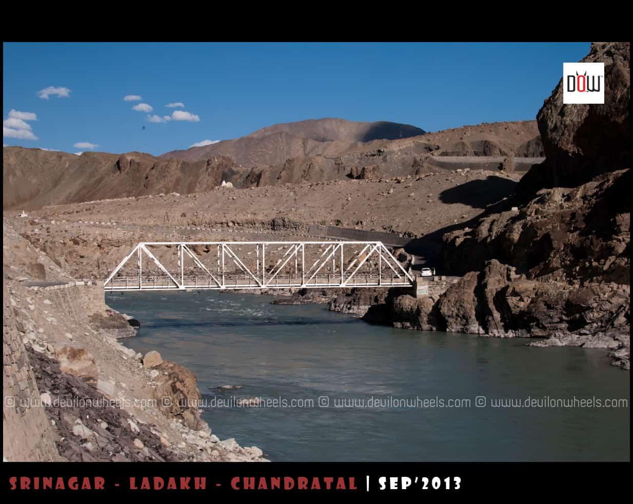 Alchi Bridge, the right side road goes to Alchi Monastery