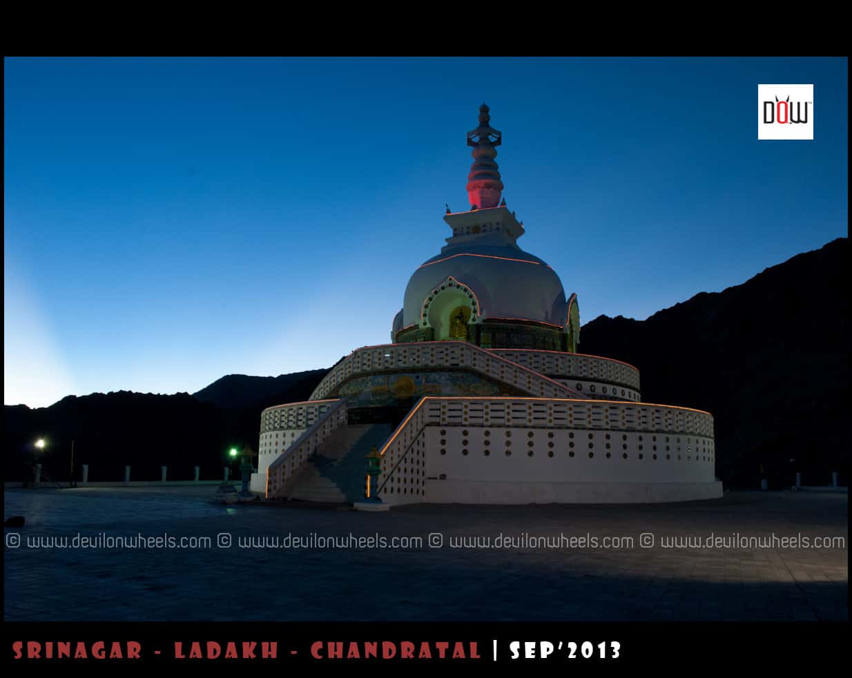 Shanti Stupa - Glowing in Lights of Dusk