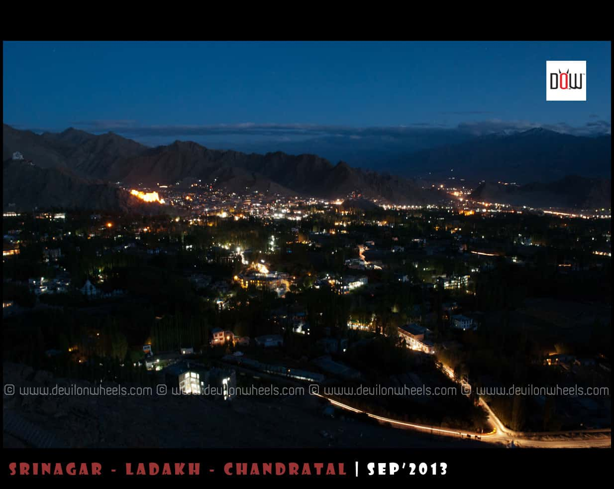 Leh City at Night as seen from Shanti Stupa