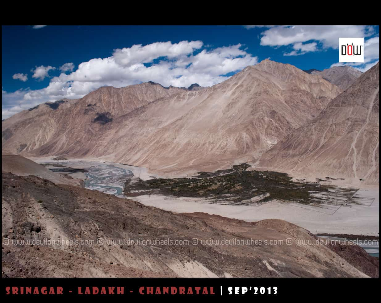 An aerial view of a distant village in Nubra Valley
