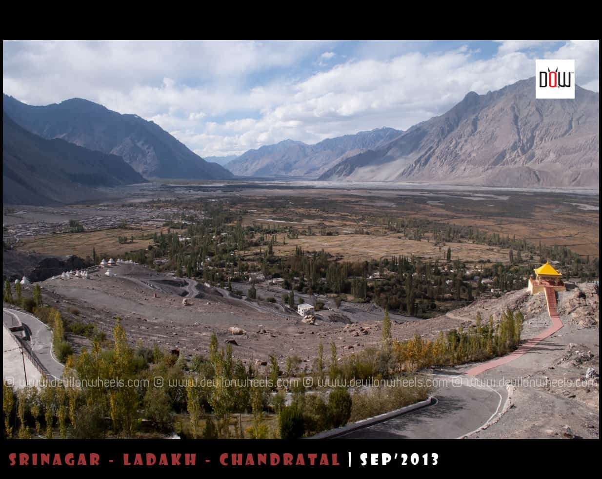 An aerial view of Diskit Village, Headquarters of Nubra Valley