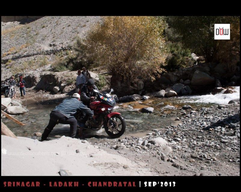 Nabeel in Water crossing on the way to Wari La Pass