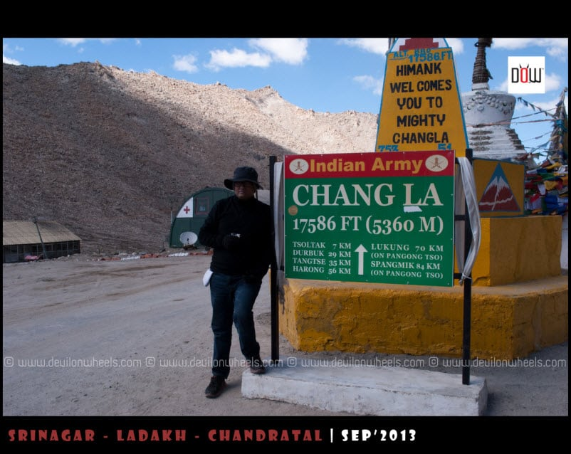 Paritosh Sipping Soup at Chang La Pass