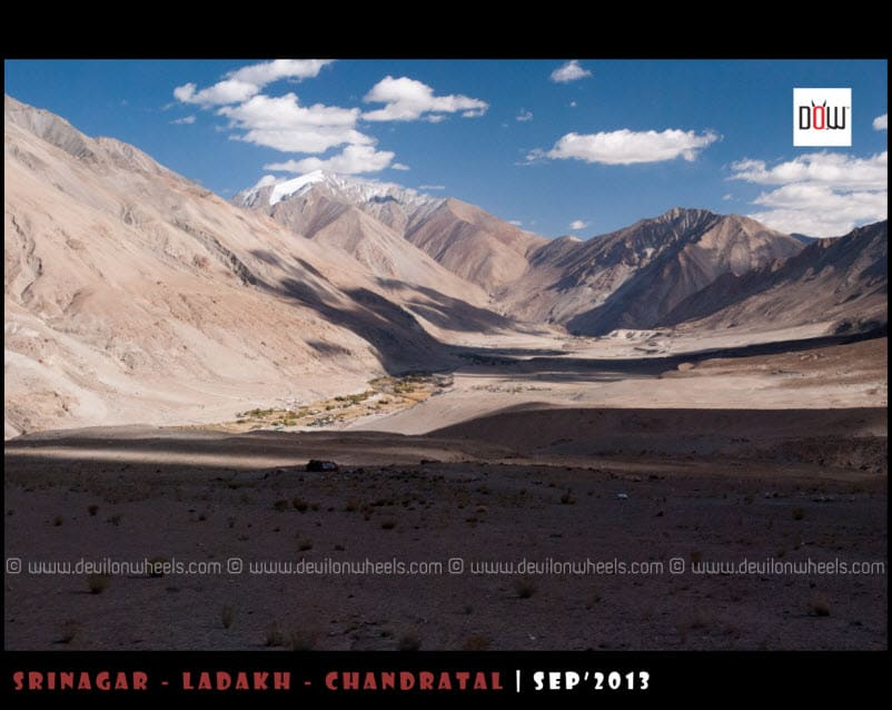 A Distant view of Tangste Village while going to Pangong Tso