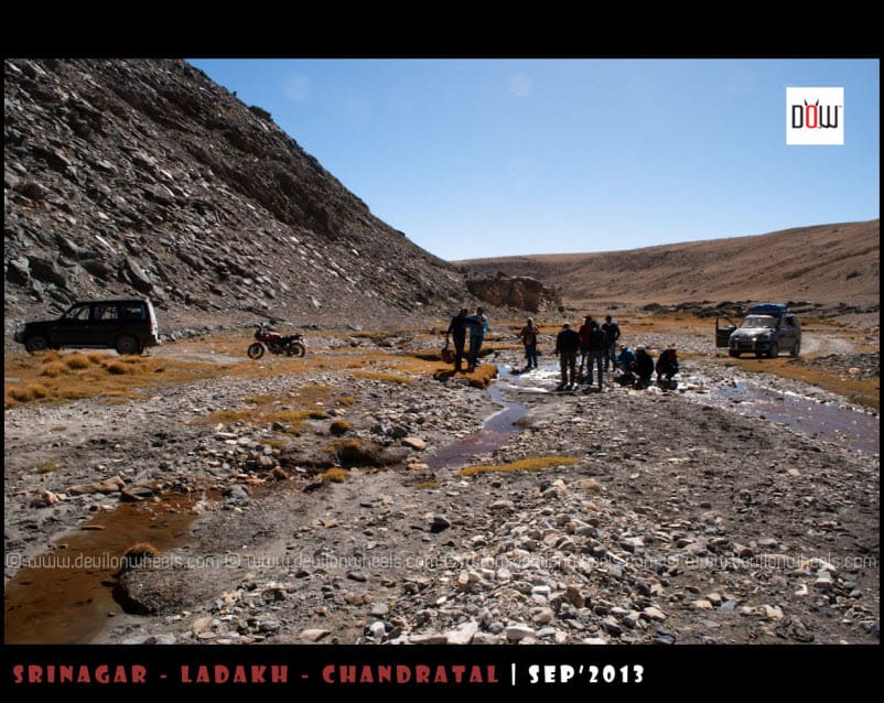 Our gang at the Water Strem on the route to Kyon Tso from Hanle