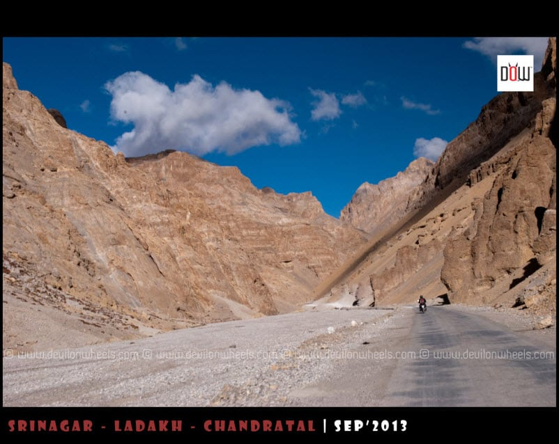 Nabeel riding ahead of us on Manali - Leh Highway