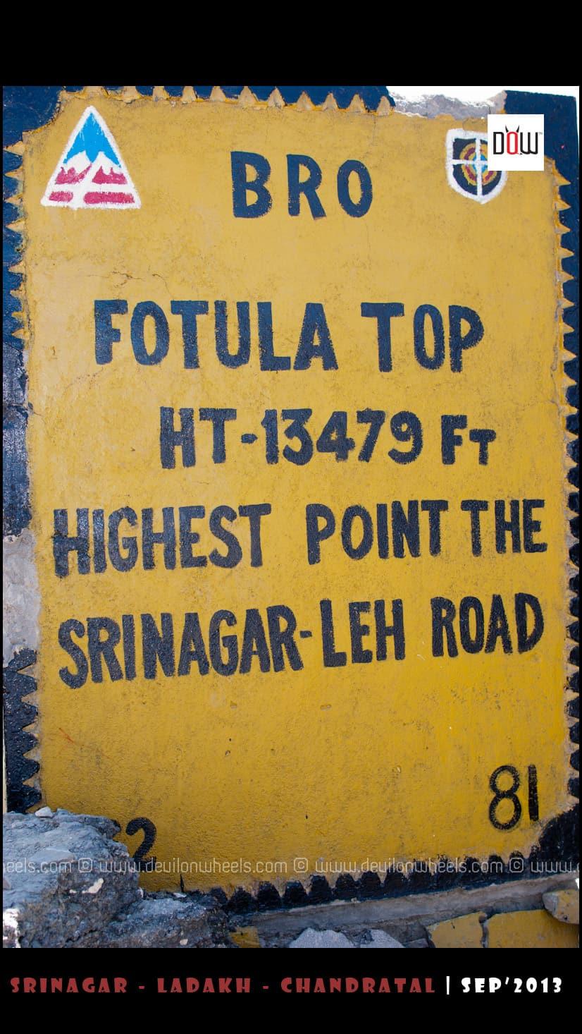 Fotu La Pass, Highest point at Srinagar - Leh Highway