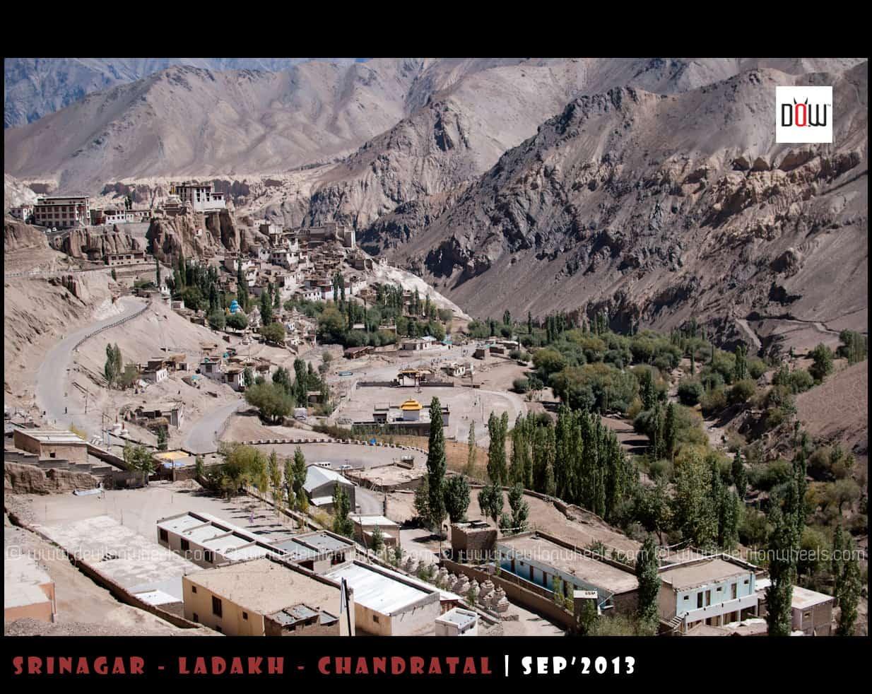 Lamayuru town as seen from Srinagar - Leh Highway