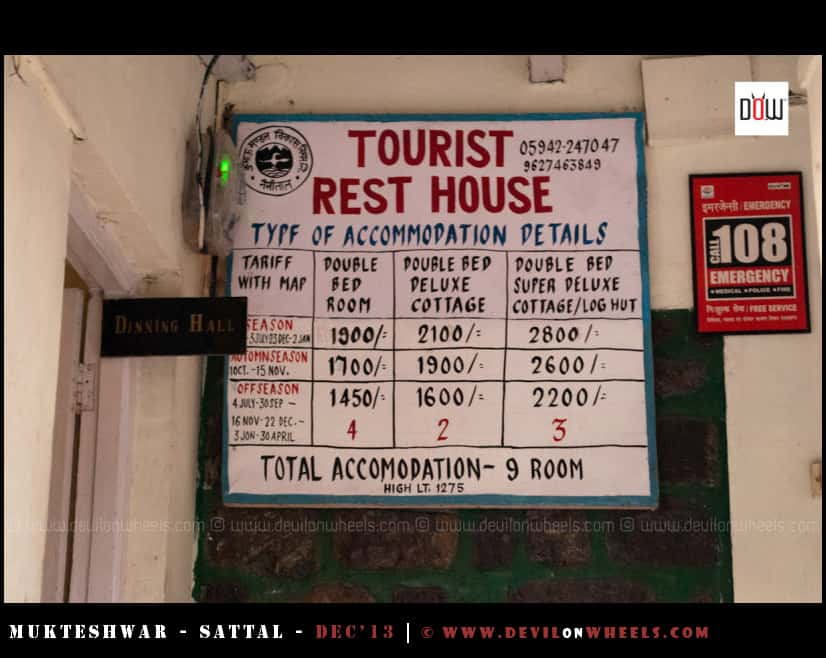 Tariff of KMVN Tourist Rest House, Sattal