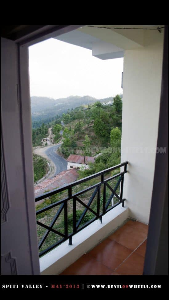 View of Shimla - Narkanda - Kinnaur road from the room at Matiana near Narkanda