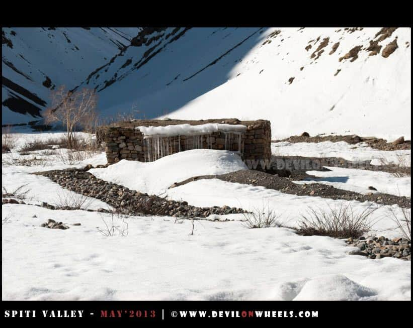 A Snow Covered Shelter near Losar Village