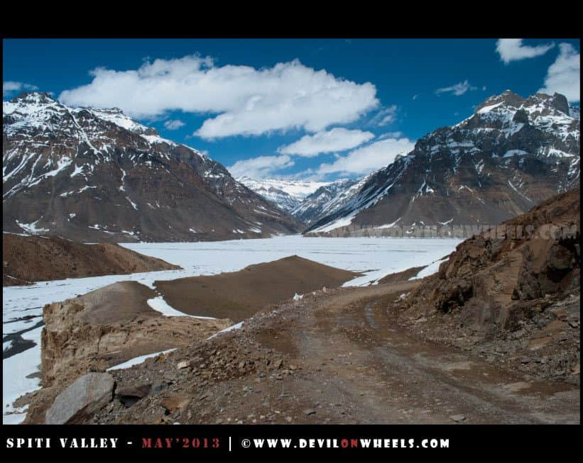 Looks like a frozen Lake towards Kunzum Pass, but it is snow and frozen river in Spiti Valley