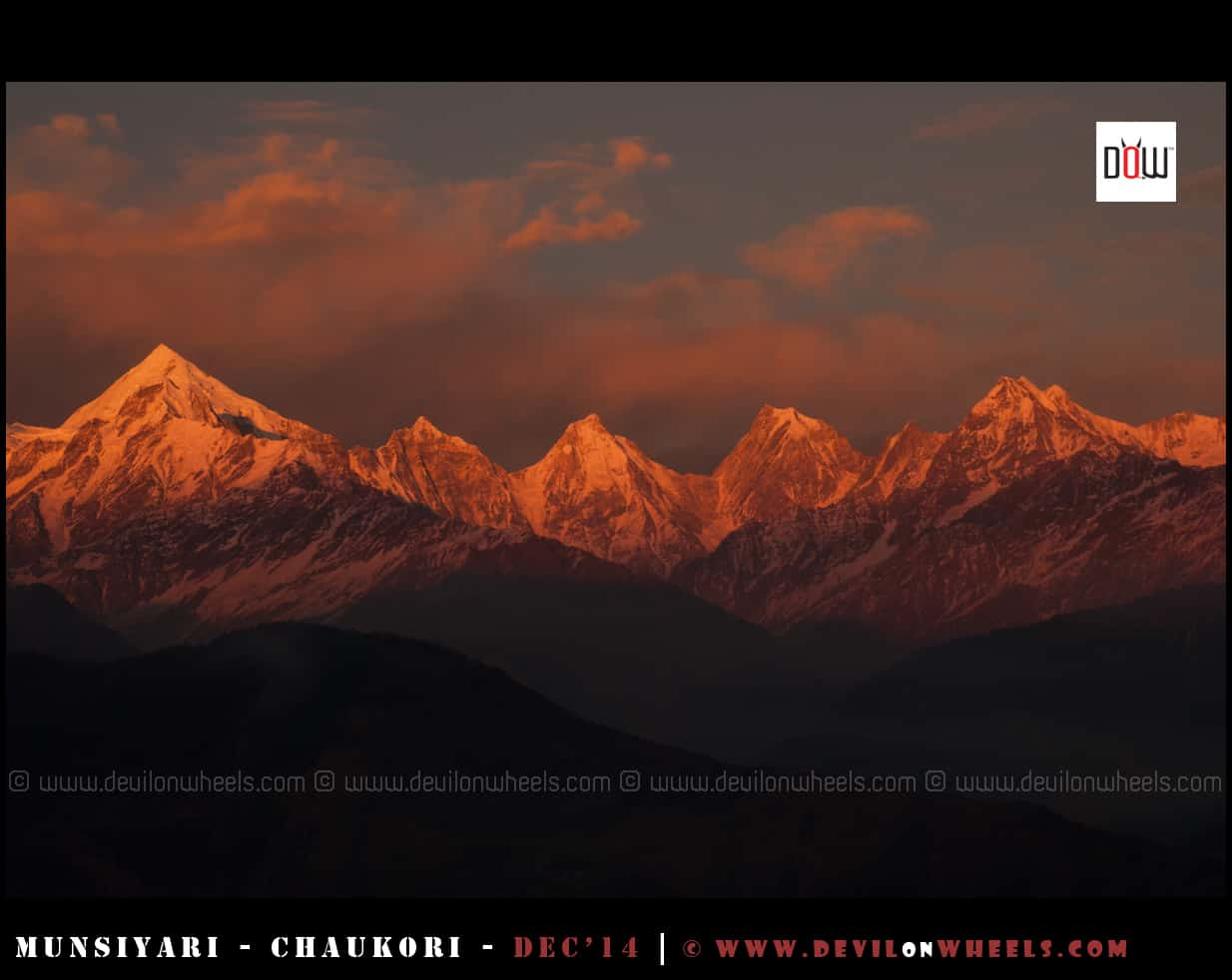 The Golden Glow - Sunset at Panchchuli Peaks as seen from Munsiyari