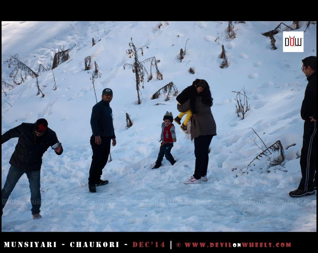 Playing in Snow at Munsiyari