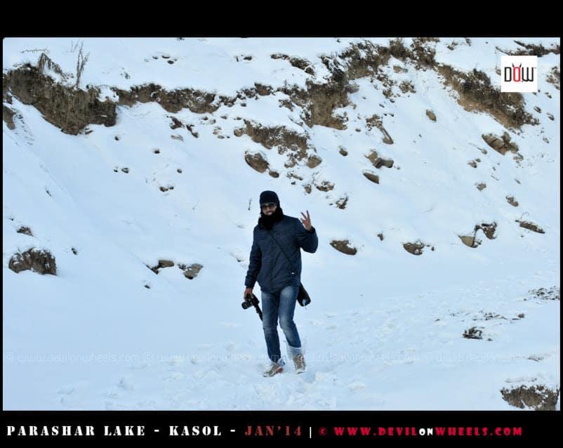 That's Aashish... Walking the Deep Snow Path to Prashar Lake