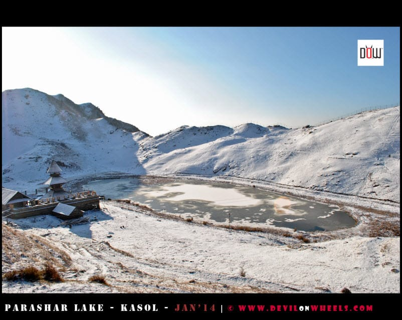First View... The Semi Frozen Prashar Lake