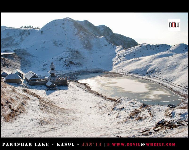 First View... The Semi Frozen Prashar Lake