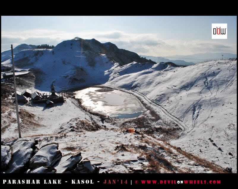 An Aerial view of the Semi Frozen Prashar Lake