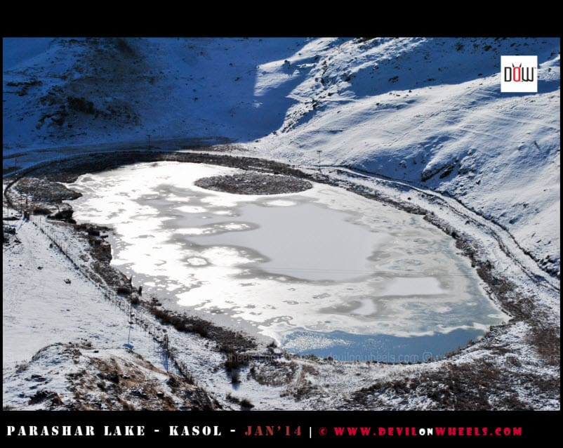 An Close-up view of the Semi Frozen Prashar Lake