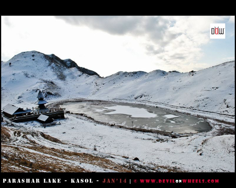 Semi Frozen Prashar Lake under Cloudy Conditions
