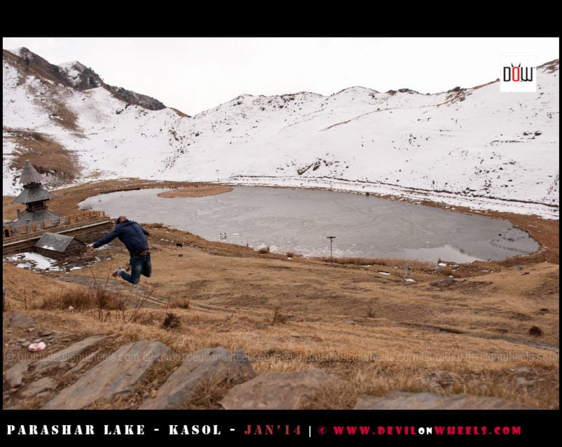 Jumping in the Air - The Last view of Prashar Lake