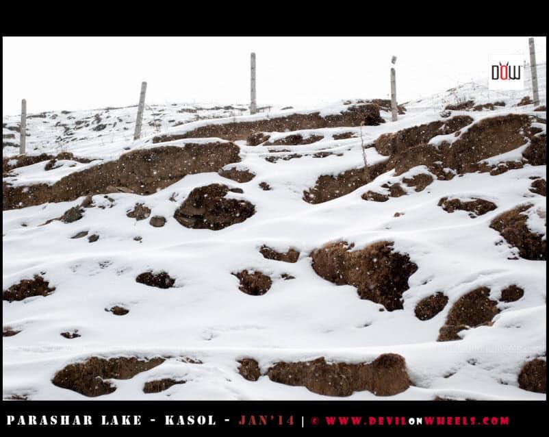 The Snowflakes coming down near Prashar Lake
