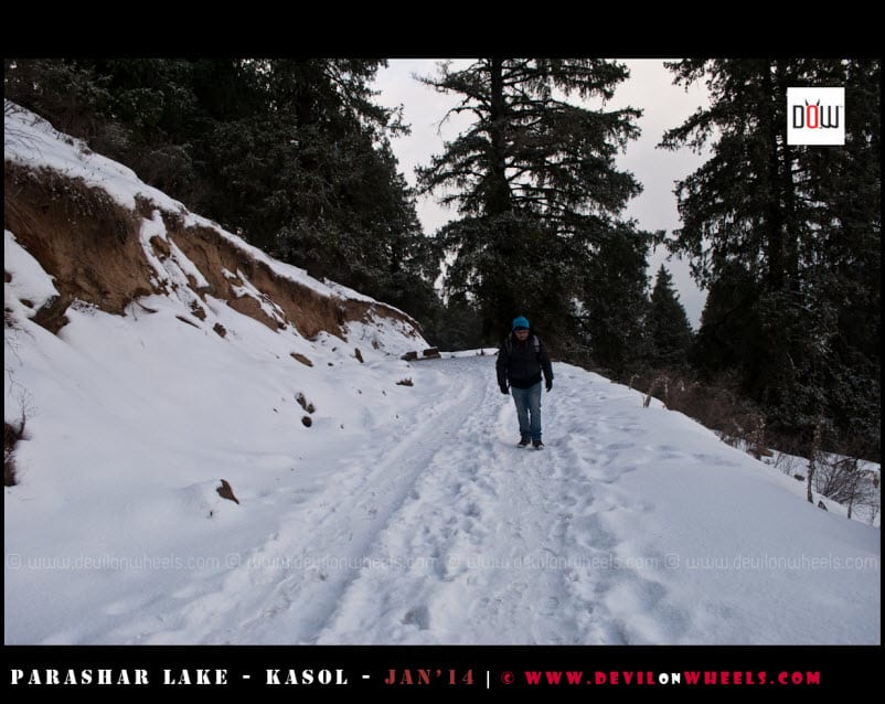 I walk a lonely road to Prashar Lake