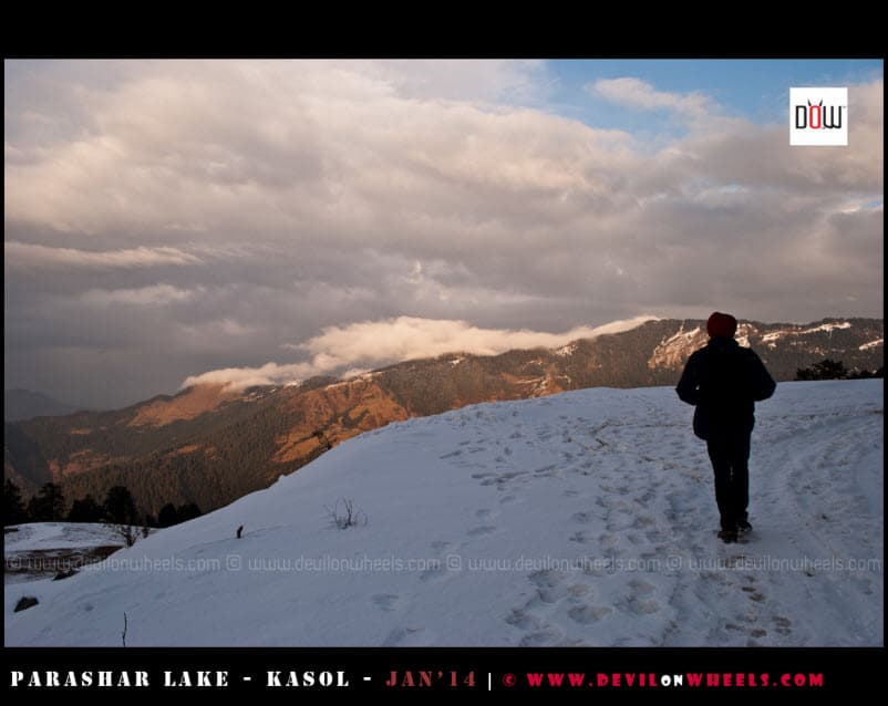 That's Bikram, walking a lonely road to Prashar Lake