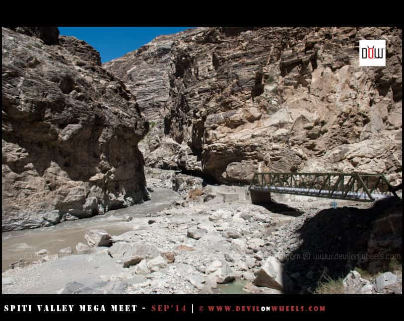 The famous Khab Bridge, where Spiti meets Sutluj River
