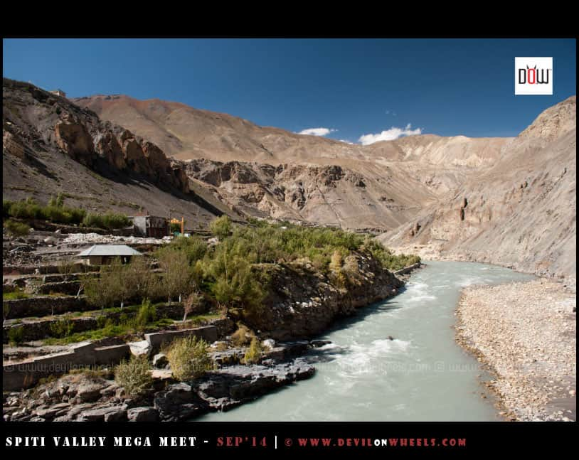 Aqua - The fresh color of Spiti River at Shialkhar Village
