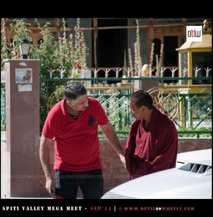 Pawanji bidding adieus to a monk at Tabo monastery