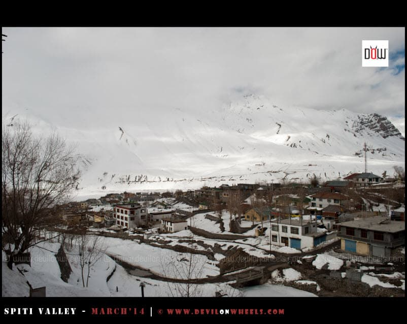 Kaza Under Snow Cover... That's how it looked from the room balcony of Snow Lion