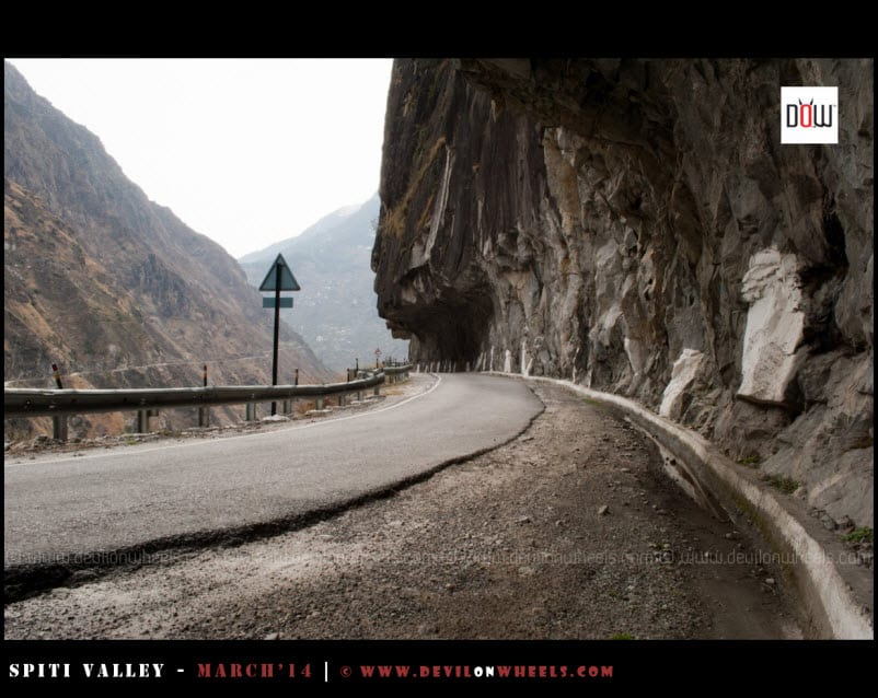 Famous Mountain Carved roads of Tranda in Kinnaur at NH-22