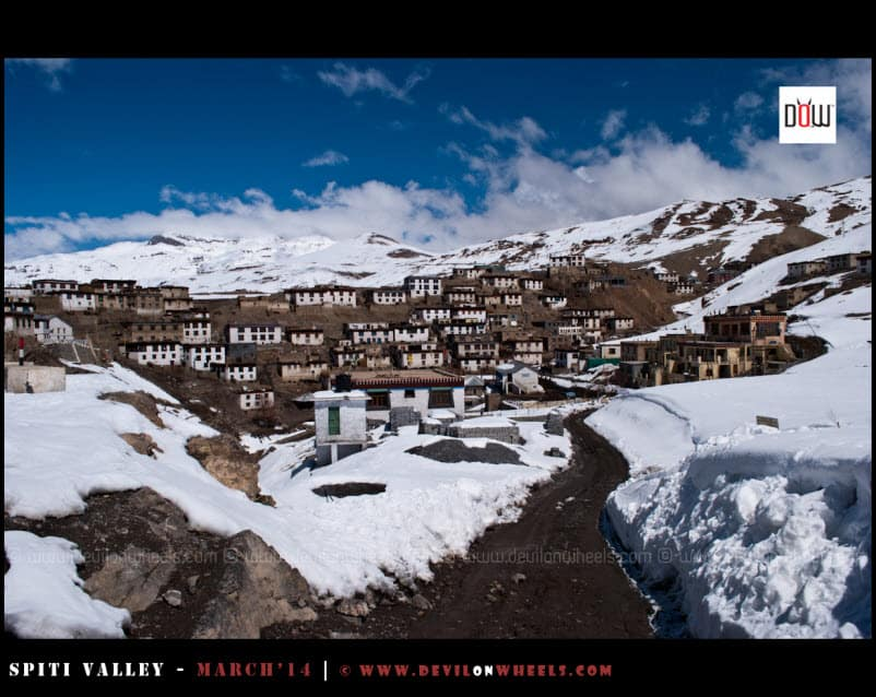 Kibber Village with Snow Around