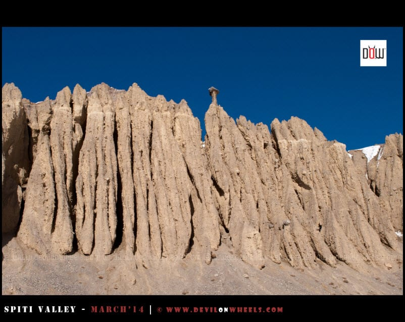 Different views of those unusual soil formations in Spiti Valley