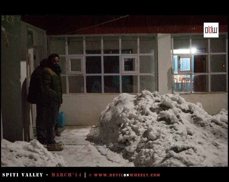 Watching Snowfall in Kaza at night