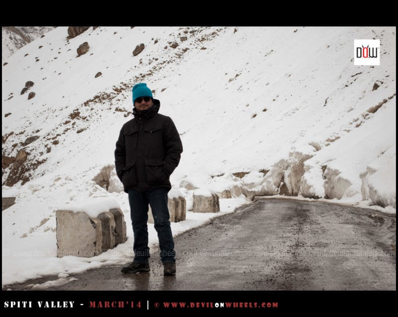 Dheeraj, enjoying a pose in snow in Kaza