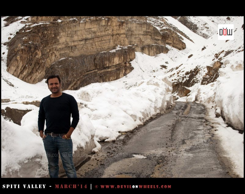 Sany, enjoying a pose in snow in Kaza