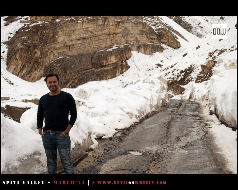 Sany, enjoying a pose in snow in Kaza