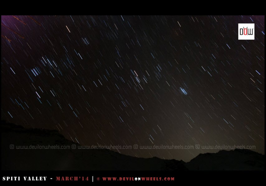 Star trails can be spotted as weather is cleared at night