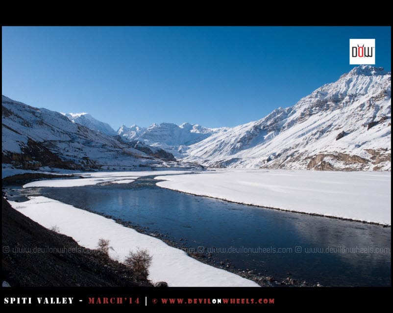 The Frozen view of Manirang Pass Range in Spiti Valley
