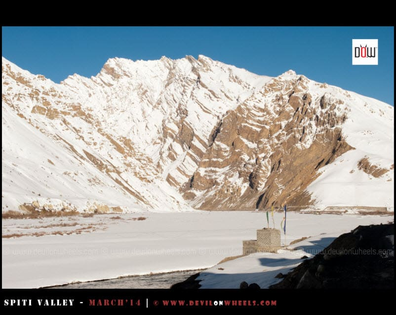 Frozen Spiti River and the road leading into Pin Valley