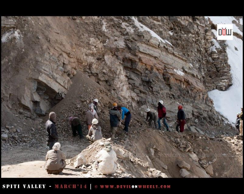 The landslide ahead of Maling Nalla in Kinnaur